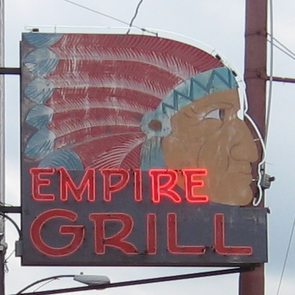 The Empire Grill sign in Skowheagn Maine